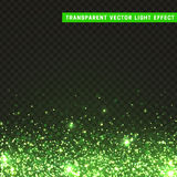 Transparent vector light effect green. Glitter particles, shining stars , space background. Bright design element, green luxury greeting card royalty free illustration