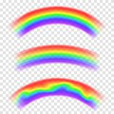Transparent vector rainbow on background. Set of rainbows in arch shape. Fantasy concept, symbol of nature. Rain and sky royalty free illustration