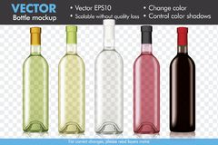 Transparent Vector Wine Bottle Mockup, Change Color and Color Shadows royalty free illustration