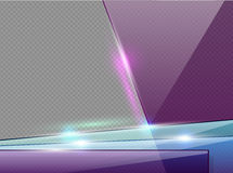 Transparent violet, blue and green glass plates with spotlight, hotspot flare web page transparency Stock Photos