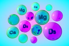 Transparent vitamin D3, calcium and magnesium pills on colorful background. Vitamin and mineral complex. Medical background. 3d illustration Royalty Free Stock Photos
