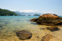 Transparent water and beautiful mountains, Ilha Grande, Brazil Royalty Free Stock Photo