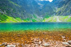 Transparent water of a clean mountain lake Czarny Staw located. At high altitude royalty free stock photos