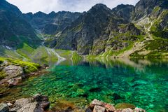 Transparent water of a clean mountain lake Czarny Staw. In the Tatras royalty free stock photos