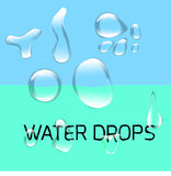 Transparent water drop set on green blue Stock Photos