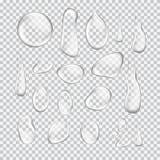 Transparent water drop set on light gray Stock Photos