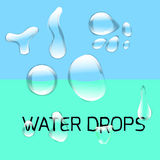 Transparent water drop set on light gray Stock Photos