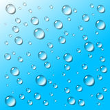 Transparent water drops on blue background Stock Photo