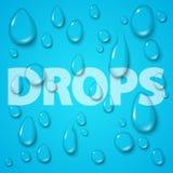 Transparent water drops set. On blue background. Vector illustration.  Clean pure aqua droplets. Realistic dew Stock Photo