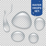 Transparent water drops Stock Images