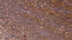 Transparent water of river and sand and gravel at summer day stock video