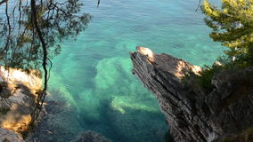 Transparent water on the rocky shore of the Adriatic Sea stock video