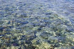 Transparent water in shallow waters at sea. Clean water in the sea. Nature concept with clean sea waters stock photo