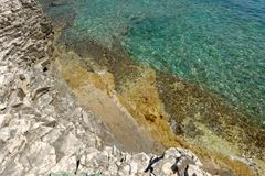 Transparent water at the shore Royalty Free Stock Photo
