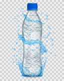 Transparent water splashes in light blue colors around a transparent plastic bottle  Stock Image