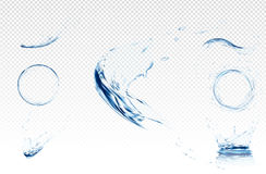 Transparent water wave with bubbles. Vector illustration in light blue colours. Purity and freshness concept. Website. Abstract water background banner or royalty free illustration