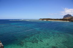The transparent waters of the ocean. Sunny day in Mauritius stock photos