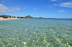 Transparent waters in Sardinia. Sardinia - Costa Rei beach - transparent sea stock photo