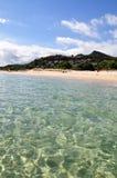 Transparent waters in Sardinia. Sardinia - Costa Rei beach - transparent sea royalty free stock photo