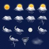 Transparent weather forecast icon set, vector realistic illustration. Weather forecast icon set with cloud, sun, snowflakes, raindrops, lightning etc. Vector Stock Photos