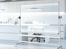 Transparent whiteboard in modern clean laboratory. 3d rendering Stock Image