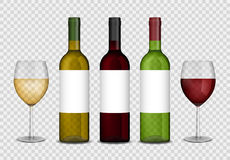 Transparent wine bottles and wineglasses mockup. red and white wine in bottle and glasses . Vector illustration. Stock Image