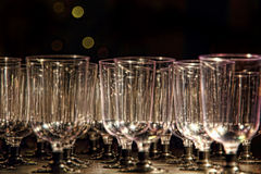 Transparent wine glasses on reception table. Royalty Free Stock Image