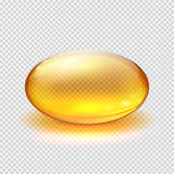 Transparent yellow capsule of drug, vitamin or fish oil macro vector illustration. Vitamin translucent pill drug, capsule translucent pharmaceutical Stock Photography