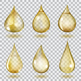 Transparent yellow drops Stock Image