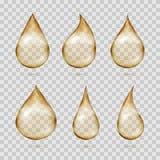 Transparent yellow oil drops vector set Royalty Free Stock Photos