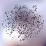 Transparent zen bouquet in the cup silver gradient. Hand drawn transparent doodle zen-tangled bouquet in the cup for  fabric print, wall art and decoration. eps Stock Photo