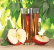 Transparente Äpfel, die in Glas fallen Lizenzfreie Stockbilder