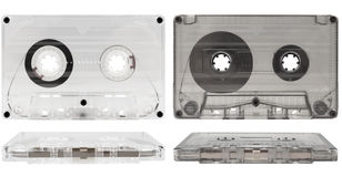 Transparente alte Audiokassetten Stockfoto