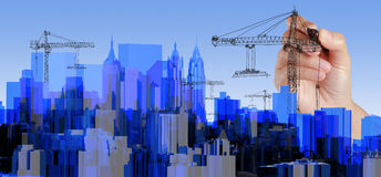 Transparente azul do raio X da cidade rendido ilustração royalty free