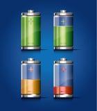 Transparente Batterie-Ikone Lizenzfreie Stockfotos