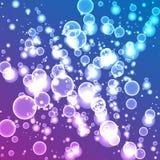 Transparente Blasen auf ultraviolettem Steigungshintergrund Vektor Lizenzfreies Stockfoto