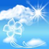 Transparente Blumen im blauen Himmel stock abbildung