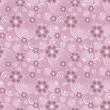 Transparente Blumen und weiße abstrakte Kreise auf einem rosa Hintergrund lizenzfreies stockbild