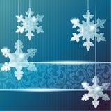 Transparente Fahne mit Schneeflockeverzierungen Stockfotos