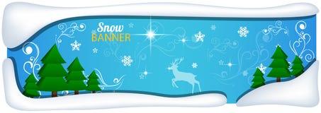 Transparente Fahne mit Schneehintergrund Lizenzfreies Stockfoto