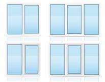 Transparente Fensterplastikansicht zuhause und vector draußen illu Lizenzfreie Stockbilder