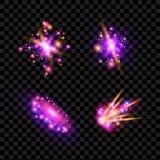 Transparente funkelnde Lichteffekte und Aufflackern Funkelnde Galaxie Stockbilder