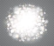 Transparente glühende Schneeeffekte mit Scheinen stock abbildung