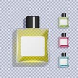 Transparente Glasflasche mit Lotion Ein Satz Lotionen von verschiedenen Farben Vektor Abbildung