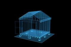 transparente Halle des blauen Röntgenstrahls 3D Stockfoto