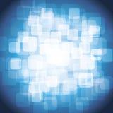 Transparente hell Lit-Quadrate auf blauem Hintergrund Stockfotografie