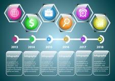Transparente Hexagonjahre Infographic Stockfoto