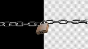 Transparente Hintergrundsicherheits-Konzeptkette und Vorhängeschlossbrandmauer, die System blockiert Stockbild