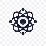 Transparente Ikone des Atoms Atomsymbolentwurf von Wissenschaft collectio vektor abbildung