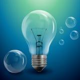 Transparente Luftblasen und Glühlampe Lizenzfreie Stockfotos